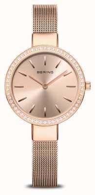 Bering | classico femminile | maglia oro rosa | lunetta in cristallo 16831-366