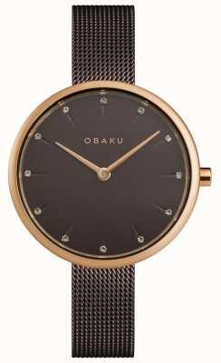 Obaku | notat donna noce | bracciale a maglie marroni | quadrante marrone | V233LXVNMN