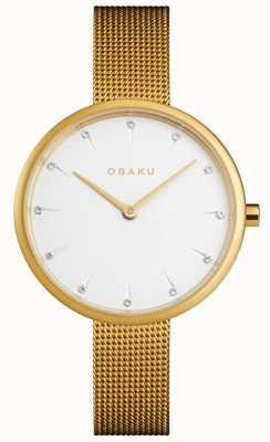 Obaku | oro notat femminile | bracciale a maglie d'oro | quadrante bianco | V223LXGIMG