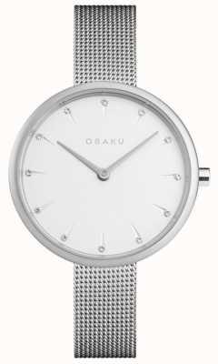 Obaku | acciaio per donne notat | braccialetto a maglie d'argento | quadrante bianco | V233LXCIMC