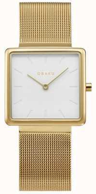 Obaku | oro kvadrat femminile | bracciale a maglie d'oro | quadrante bianco | V236LXGIMG