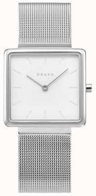 Obaku | acciaio kvadrat da donna | braccialetto a maglie d'argento | quadrante bianco V236LXCIMC