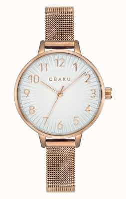 Obaku | sirena femminile rosa | braccialetto a maglie in oro rosa | quadrante bianco V237LXVIMV