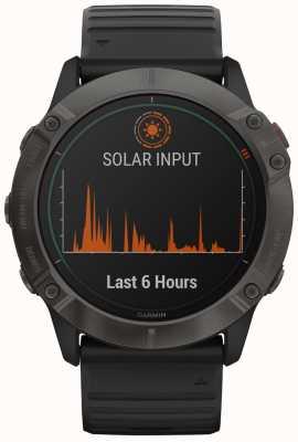 Garmin Fenix 6x pro solar titanium | dlc grigio carbonio | cinturino nero 010-02157-21