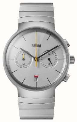 Braun Cronografo da uomo | quadrante argentato | bracciale in acciaio inossidabile BN0265SLBTG
