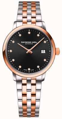 Raymond Weil | toccata delle donne | bracciale bicolore | set di diamanti neri 5985-SP5-20081
