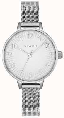 Obaku | acciaio da donna syren | braccialetto a maglie d'argento | quadrante argentato | V237LXCIMC