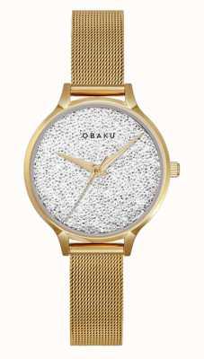 Obaku | st jerner gold da donna | bracciale a maglie d'oro | quadrante di cristallo V238LXGWMG