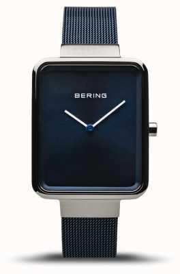 Bering Classico | argento lucido / spazzolato | cinturino in rete blu | 14528-307