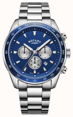 Rotary | henley maschile | quadrante cronografo blu | acciaio inossidabile | GB05109/05