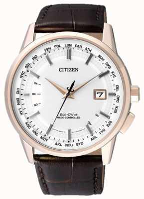 Citizen Radiocontrollato perenne | cinturino marrone | quadrante bianco CB0153-21A