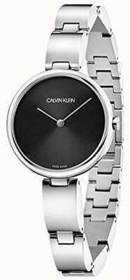 Calvin Klein | bracciale da donna in acciaio inossidabile quadrante nero | K9U23141