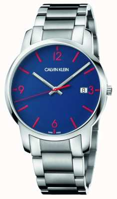 Calvin Klein Città degli uomini | bracciale in acciaio inossidabile quadrante blu K2G2G147
