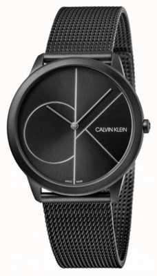 Calvin Klein | minimo | cinturino in maglia di acciaio nero quadrante nero K3M5145X