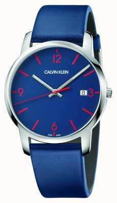 Calvin Klein | città degli uomini | cinturino in pelle blu | quadrante blu | K2G2G1VX