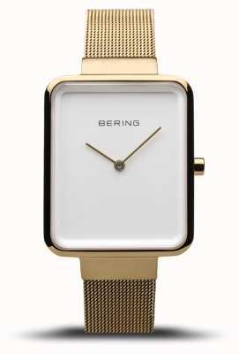Bering Classico da donna | maglia oro lucido / spazzolato | quadrante bianco | 14528-334