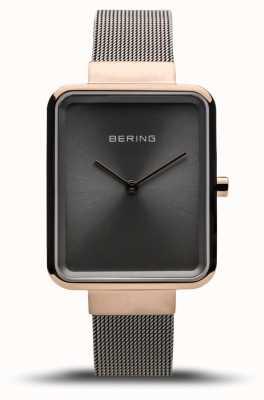 Bering Classico da donna | maglia grigia lucida | quadrante grigio 14528-369