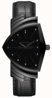 Hamilton Ventura | cinturino in pelle nera da uomo | quadrante nero | H24401731