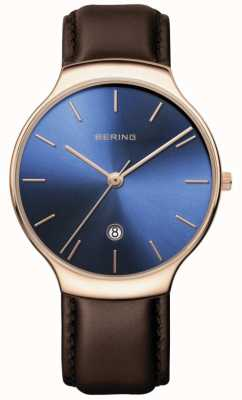 Bering | classico femminile | cinturino in pelle marrone | quadrante blu | 13338-567