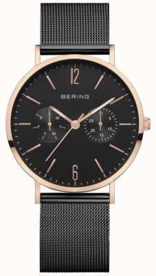 Bering Classico da donna | bracciale a maglie nere | quadrante nero | 14236-163