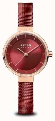 Bering | solare per donna | oro rosa lucido | maglia rossa | quadrante rosso | 14627-363