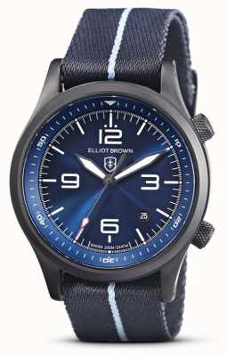 Elliot Brown Mens | canford | quadrante blu | tessuto blu 202-023-N12