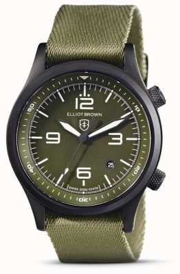 Elliot Brown Mens | canford | quadrante verde | cinturino in tessuto verde 202-024-N08