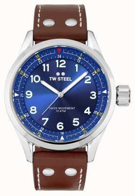 TW Steel | uomo | volante svizzero | quadrante blu | cinturino in pelle marrone | SVS102