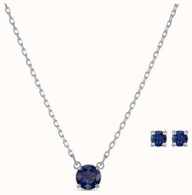 Swarovski | attrarre il set rotondo | collana e orecchini blu | 5536554
