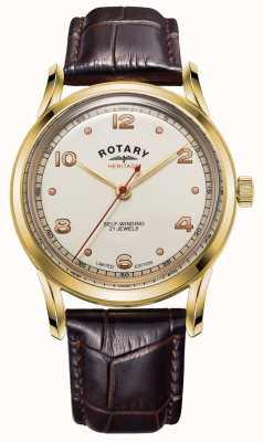 Rotary Mens | edizione limitata | patrimonio | cinturino in pelle marrone GS05143/03