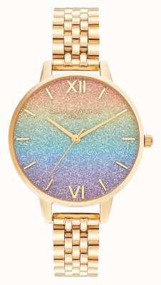 Olivia Burton | quadrante glitter arcobaleno | braccialetto d'oro | OB16RB23