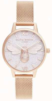 Olivia Burton | quadrante glitter ape fortunata e maglia in oro rosa | OB16FB04