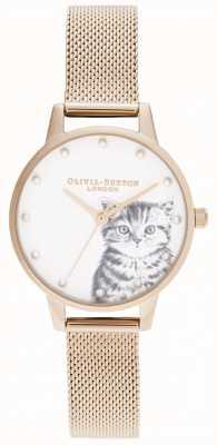 Olivia Burton Maglia illustrata madreperlacea dell'oro rosa del gattino OB16WL88
