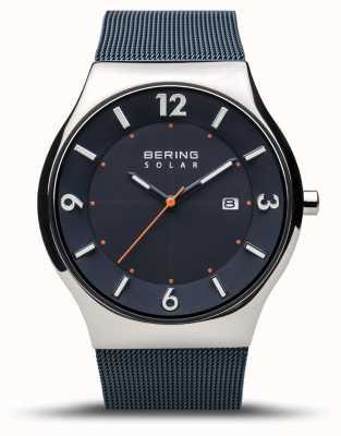 Bering | uomo | sottile solare | blu navy | braccialetto a maglie | 14440-307