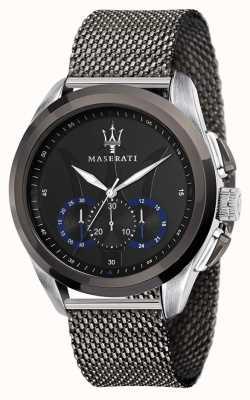 Maserati Traguardo | bracciale in maglia di acciaio grigio | quadrante nero R8873612006