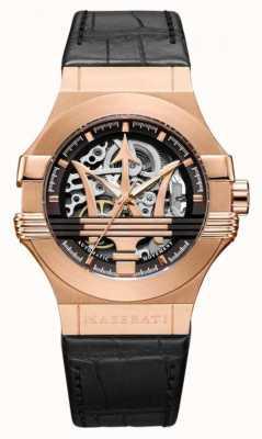 Maserati Potenza | cinturino in pelle nera | cassa placcata pvd oro rosa | R8821108030