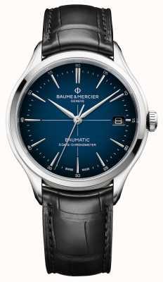 Baume & Mercier Clifton | baumatico | quadrante blu cadran | cinturino nero M0A10467