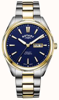 Rotary Henley maschile | cinturino in acciaio bicolore | quadrante blu GB05381/05