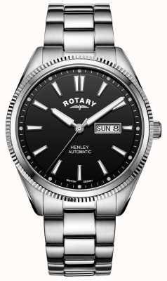 Rotary Henley uomo | bracciale in acciaio inossidabile | quadrante nero | GB05380/04