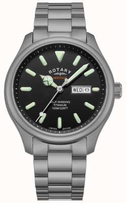 Rotary Henley uomo automatico | bracciale in titanio | quadrante nero | GB05249/04