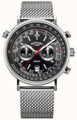 Rotary Henley maschile | bracciale a maglie d'acciaio | quadrante nero | GB05235/04