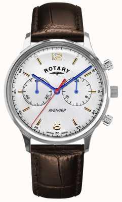 Rotary Vendicatore maschile | cinturino in pelle marrone | quadrante argentato GS05203/70