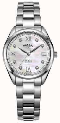 Rotary Henley delle donne | bracciale in acciaio inossidabile quadrante con diamanti incastonati LB05110/07/D