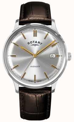 Rotary Vendicatore maschile | cinturino in pelle marrone | quadrante argento | GS05400/06