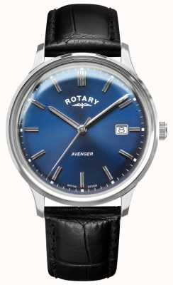 Rotary Vendicatore maschile   cinturino in pelle nera   quadrante blu   GS05400/05