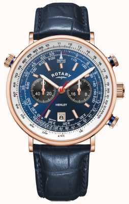 Rotary Henley maschile | custodia in pvd oro rosa | pelle blu | quadrante blu GS05237/05