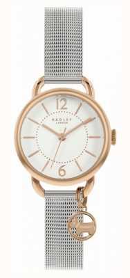 Radley | braccialetto da donna in maglia d'argento | quadrante bianco | fascino del cane RY4527