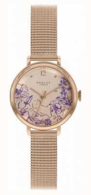 Radley | bracciale da donna in maglia di oro rosa | quadrante stampa floreale RY4524