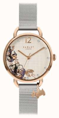 Radley | braccialetto da donna in maglia d'argento | quadrante stampa floreale | RY4525