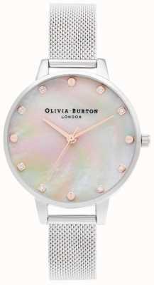 Olivia Burton | quadrante demi mop con dettaglio a vite | bracciale in maglia d'argento | OB16SE07